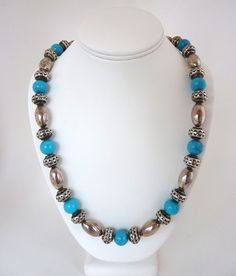 Silver Turquoise Necklace South West Style by BonniesVintageAttic, $119.95