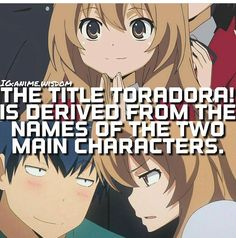 Tora also mean tiger and dora means dragon which is obviously where we get their names from. I Love Anime, Me Me Me Anime, All Anime, Otaku Anime, Manga Anime, Anime Art, Anime Stuff, Anime Qoutes, Kuroko