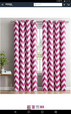 Latitude Run Khalil Chevron Blackout Thermal Grommet Curtain Panels Size W X L Color Hot Pink