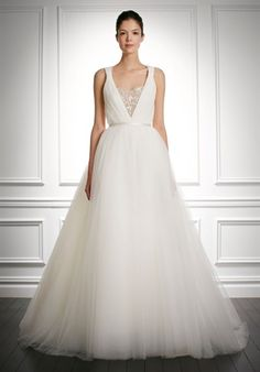 Carolina Herrera - Jocelyn Ruched silk georgette gown, tulle skirt, and sheer inset at bust