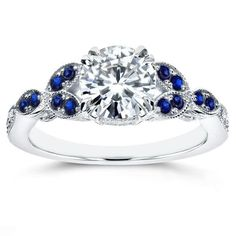 Annello by Kobelli 14k White Gold Moissanite and Sapphire Floral Engagement Ring #engagementrings
