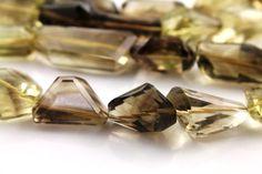Natural bio lemon topaz fancy facted gemstone drop by Beadspoint, $45.99