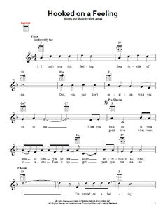 Preview B.J. Thomas Hooked On A Feeling Love sheet music, notes and chords for Piano, Vocal & Guitar (Right-Hand Melody), SKU: 58216