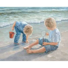 Two Boys Playing in Sand