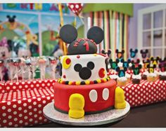 Mickey Mouse Clubhouse Birthday Party-- cake, cake pops, cupcakes; food; Happy Birthday Hayden!