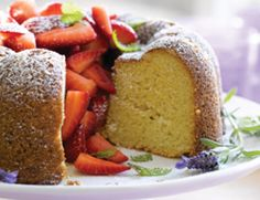 Almond Bundt Cake with Fresh Strawberries Recipe | Vegetarian Times