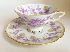 Vivacious Violets Tea Cup and Saucer, Mitterteich Bavaria Germany Tea Set, Antique Teacups, Violets Cups, Teacup and Saucer, China Tea Cups