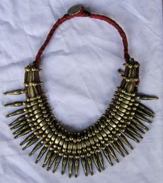 India | Silver and brass necklace from the Khiamniungan people of southern Nagaland.  ca. 1930s