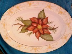 Hand Painted Poinsettia Platter by ekwpaintedtreasure on Etsy