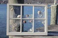 Shabby chic beach windows what beautiful idea.