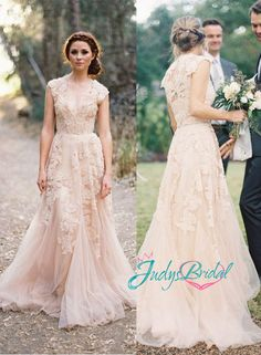 peach blush colored deep v neck lace overlay tulle wedding dress