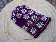 hand knitted purple white wool mittens by peonijahandmadeshop, $45.50