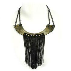 collar babero de piel bronce y fleco negro  piel,cadenas,tejido guarnicionería