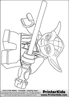 Lego Star Wars -  Lightsaber Yoda - Coloring Page
