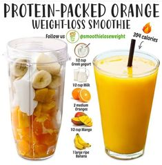 Weight Loss Smoothie Recipes, Fruit Smoothie Recipes, Smoothie Drinks, Orange Smoothie, Healthy Juices, Healthy Smoothies, Healthy Drinks, Healthy Nutrition, Nutrition Tips