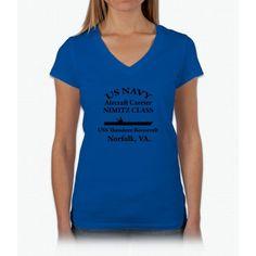 Uss Theodore Roosevelt Shirt Womens V-Neck T-Shirt