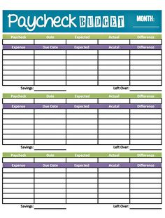 printable weekly budget template