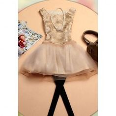 $15.14 Sweet Scoop Neck Solid Color Sleeveless Thread Embroidery Organza   Lace Dress For Women