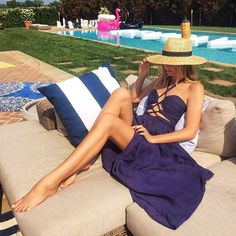 Soaking in the late afternoon sun in my favourite @thejetsetdiaries dress from @revolveclothing #REVOLVEinthehamptons  by tuulavintage