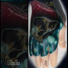 Morph style Skull and Apple tattooed on apof
