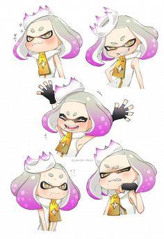 uchiman, Splatoon, Hime (Splatoon), Tentacle Hair, Nervous, Tentacles, Twitter, Fanart, Pearl (Splatoon