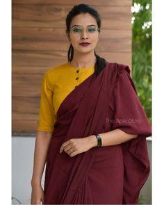 Blouse Designs High Neck, Cotton Saree Blouse Designs, Simple Blouse Designs, Stylish Blouse Design, Blouse Patterns, Saree Wearing Styles, Formal Saree, Saree Trends, Stylish Sarees