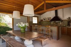 Casa | Mata Atlântica – interior | Andrea Chicharo House, Home N Decor, Dining Table, House Inspiration, Home Decor, Home Deco, Wooden Dining Tables, Big Dinner Table, Home Interior Design