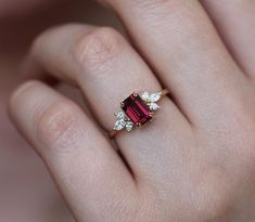 Emerald Cut Diamond Engagement Ring, Garnet And Diamond Ring, Diamond Rings For Sale, Floral Engagement Ring, Ruby Engagement Rings, Engagement Gifts, Ruby Wedding Rings, Garnet Rings, Garnet Birthstone Rings