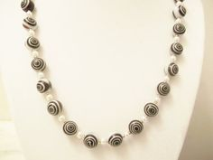 Handmade Jewelry, Beaded Necklace, Black Eye Lampwork Dot Beaded, Lampwork Beads, Beadwork on Etsy, $25.00