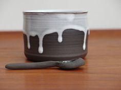 Pottery Salt Cellar And Spoon Ceramic Salt by NancyMarengerPottery, $30.00