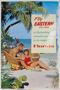 DP Vintage Posters - Fly Eastern Airlines Florida Original Travel Poster