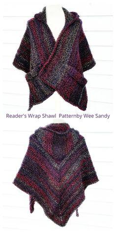 16 Reader's Pocket Wrap Shawl Free Crochet Patterns & Paid - DIY Magazine Crochet Hood, Crochet Shrug Pattern, Crochet Jacket, Free Crochet, Crochet Patterns, Cowl Patterns, Knitting Patterns, Crochet Shawls And Wraps, Crochet Scarves