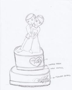 my drawing for my cousin's wedding cake - Golf theme wedding