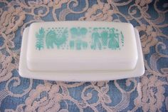 Vintage Pyrex Butterprint Turquoise Butter Dish, Mid Century, Kitchen, Retro. [buy this for me]