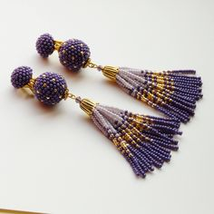 Purple earrings fringe earrings Tassel earrings Seed beads earrings Statement earrings Bohemian jewelry Boho jewelry Handmade Beaded earrings total length Tassel beaded earrings 11.5 cm ● If you want different color or size, feel free to let me know before ordering and I will