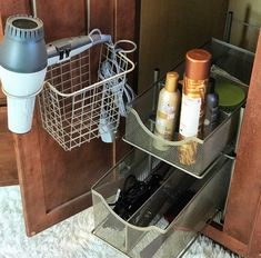 Simple Tips For Organizing Under Your Bathroom Sink - Be My Guest With Denise Bathroom Organization, Organized Bathroom, Bathroom Ideas, Cabinet Drawers, Spring Cleaning, Getting Organized, Master Bath, Sink, Shelves