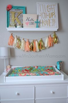Coral and Turquoise Baby Girl Nursery www.MrsSouthernMa… Coral and Turquoise Baby Girl Nursery www. Girl Nursery Themes, Nursery Decor, Coral Nursery, Nursery Furniture, Nursery Ideas, Themed Nursery, Nursery Room, Girl Nurseries, Modern Nurseries