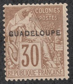Guadeloupe 1891 Scott 22 30c brown/bister