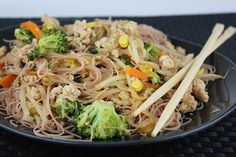 Healthy Stir-Fry Thai Noodle Recipe - Love this and so did the hubby!  Make sure to break up the noodles a bit otherwise scissors might be needed to get them into your bowl. :)