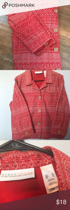 100% cotton☁️ jacket by Liz Claiborne. XL Red cotton jacket. First Issue by Liz Claiborne. 3/4 sleeves. Liz Claiborne Jackets & Coats Blazers