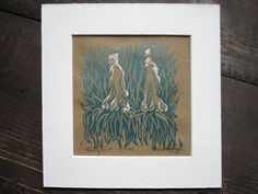 Grassy Feet Mini Woodcut Relief Print Matted by MissyHeagle