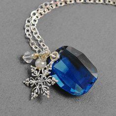Blue Crystal Necklace Sterling Silver by MyDistinctDesigns on Etsy, $36.00