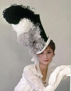 """Audrey Hepburn modeling a gown and hat for the Ascot scene in """"My Fair Lady"""", 1963 ~ costume design and photography by Cecil Beaton My Fair Lady, Golden Age Of Hollywood, Old Hollywood, Audrey Hepburn Born, Cecil Beaton, Love Hat, Movie Costumes, Ascot, Costume Design"""