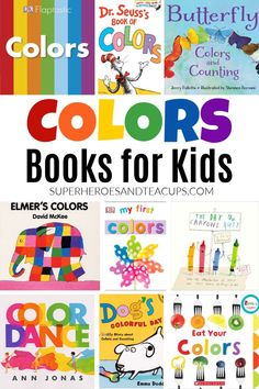 There are so many fun books for kids all about colors. Everything from board books to picture books to ebooks. Preschool Pictures, Preschool Books, Book Club Books, Good Books, Book Lists, Coloring For Kids, Coloring Books, Teaching Kids, Kids Learning