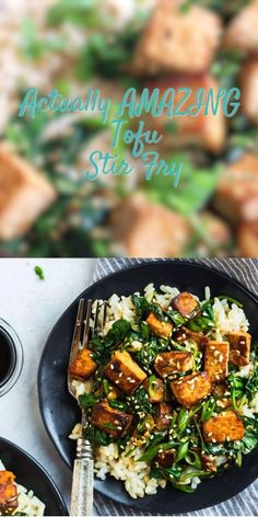 Crispy tofu with spinach, broccoli, or any fresh vegetables in a quick Asian garlic sesame sauce. This vegan recipe is packed with flavor and ready in 30 minutes! Serve with rice or noodles for a fast, healthy dinner! Healthy Dinner Recipes, Vegetarian Recipes, Vegan Quick Dinner, Healthy Tofu Recipes, Healthy Korean Recipes, Beef Recipes, Cooking Recipes, Fast Recipes, Crispy Tofu