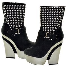 Black and Silver Two Tone Studded Pattern Booties | Sexyback Boutique
