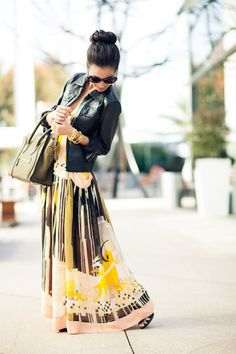 Leather Jacket   Maxi Dress