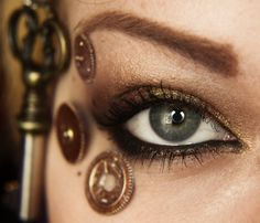 Steampunk Augen Make-up Steampunk Nails, Steampunk Witch, Steampunk Makeup, Mode Steampunk, Steampunk Wedding, Steampunk Costume, Steampunk Fashion, Steampunk Hairstyles, Simple Eye Makeup