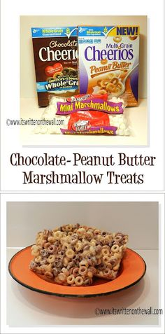 Chocolate and Peanut Butter Cheerios PLUS Marshmallows make a delicious Treat-Get the recipe HERE