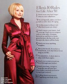 Ellen's (Barkin) 10 rules for life after 50- greatest advice from a beautiful and classy older woman
